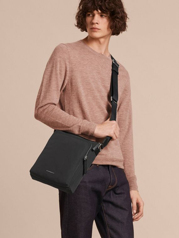 Small Technical Crossbody Bag with Leather Trim in Black - Men | Burberry Australia - cell image 2
