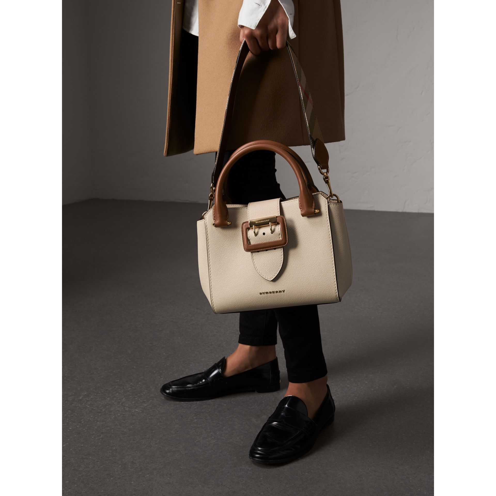 The Small Buckle Tote in Two-tone Leather in Limestone - Women | Burberry United Kingdom - gallery image 9