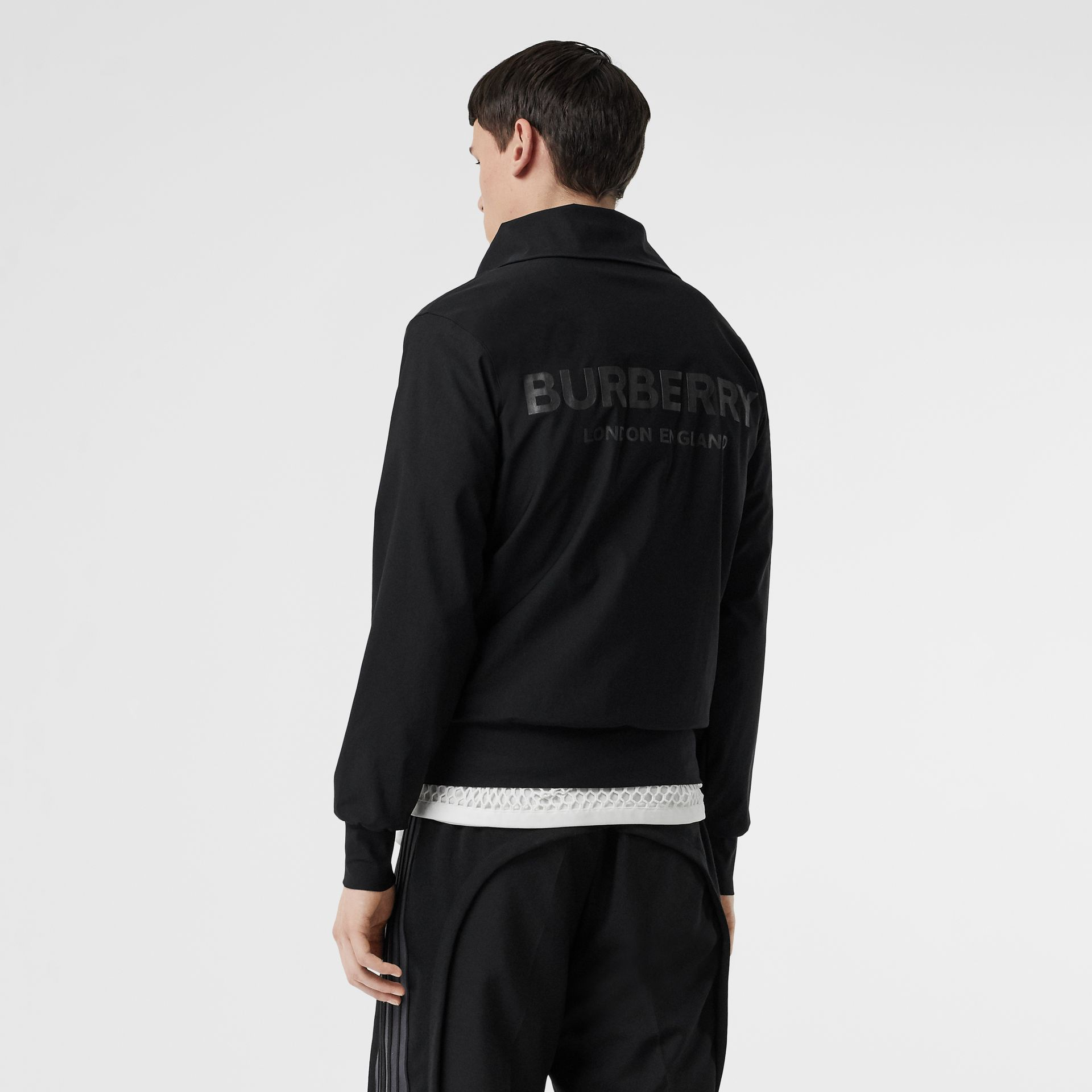 Logo Print Funnel Neck Track Top in Black - Men | Burberry - gallery image 4
