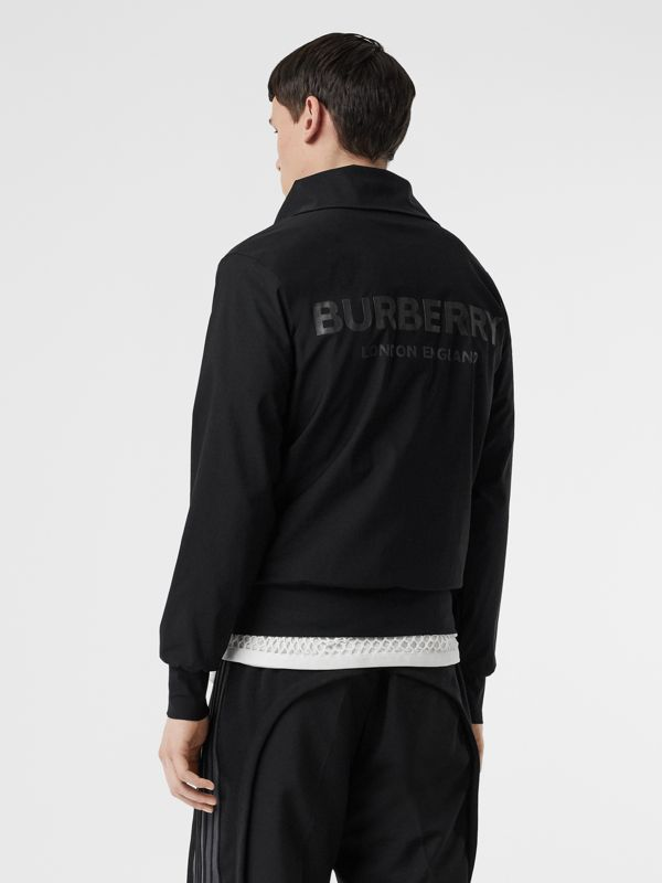 Logo Print Funnel Neck Track Top in Black - Men | Burberry United States - cell image 3