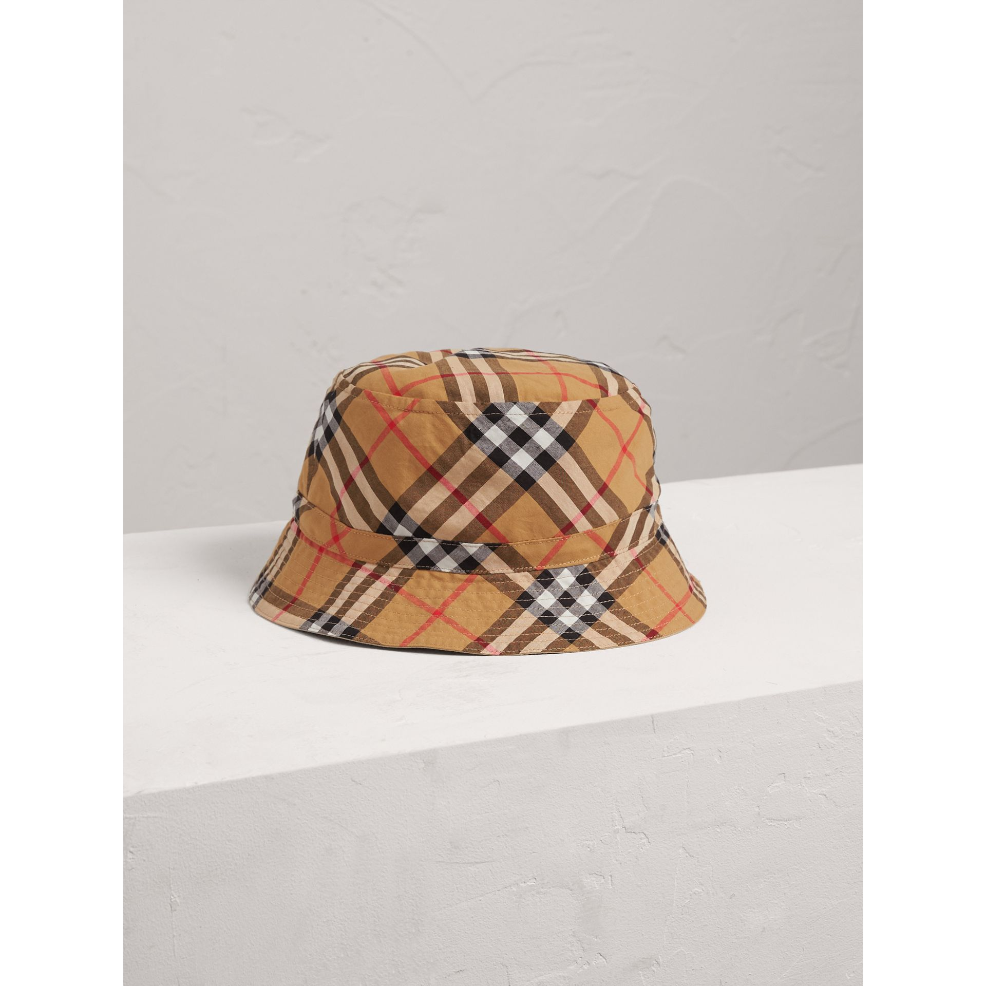 Vintage Check Cotton Bucket Hat in Antique Yellow | Burberry - gallery image 0