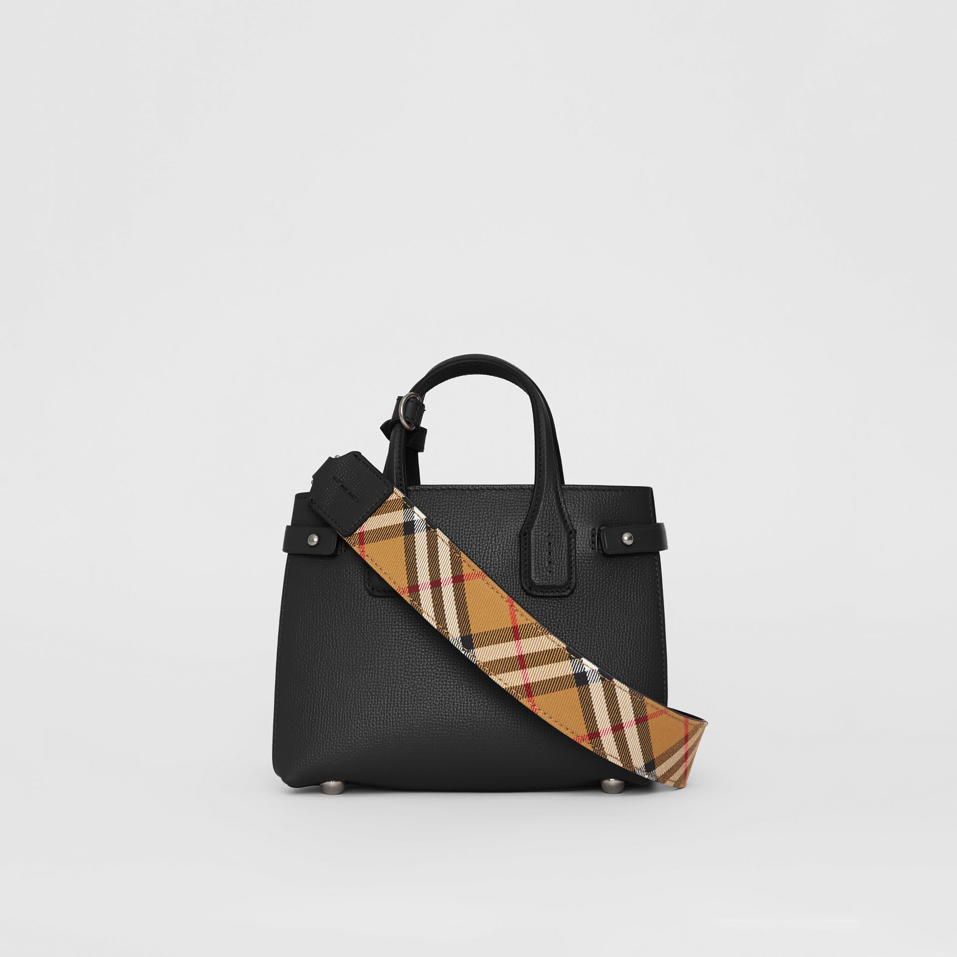The Baby Banner in Leather and Vintage Check in Black - Women | Burberry - gallery image 7