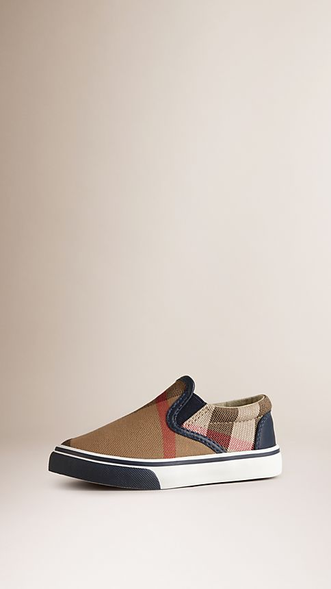 Navy House Check Cotton Slip-On Trainers - Image 1
