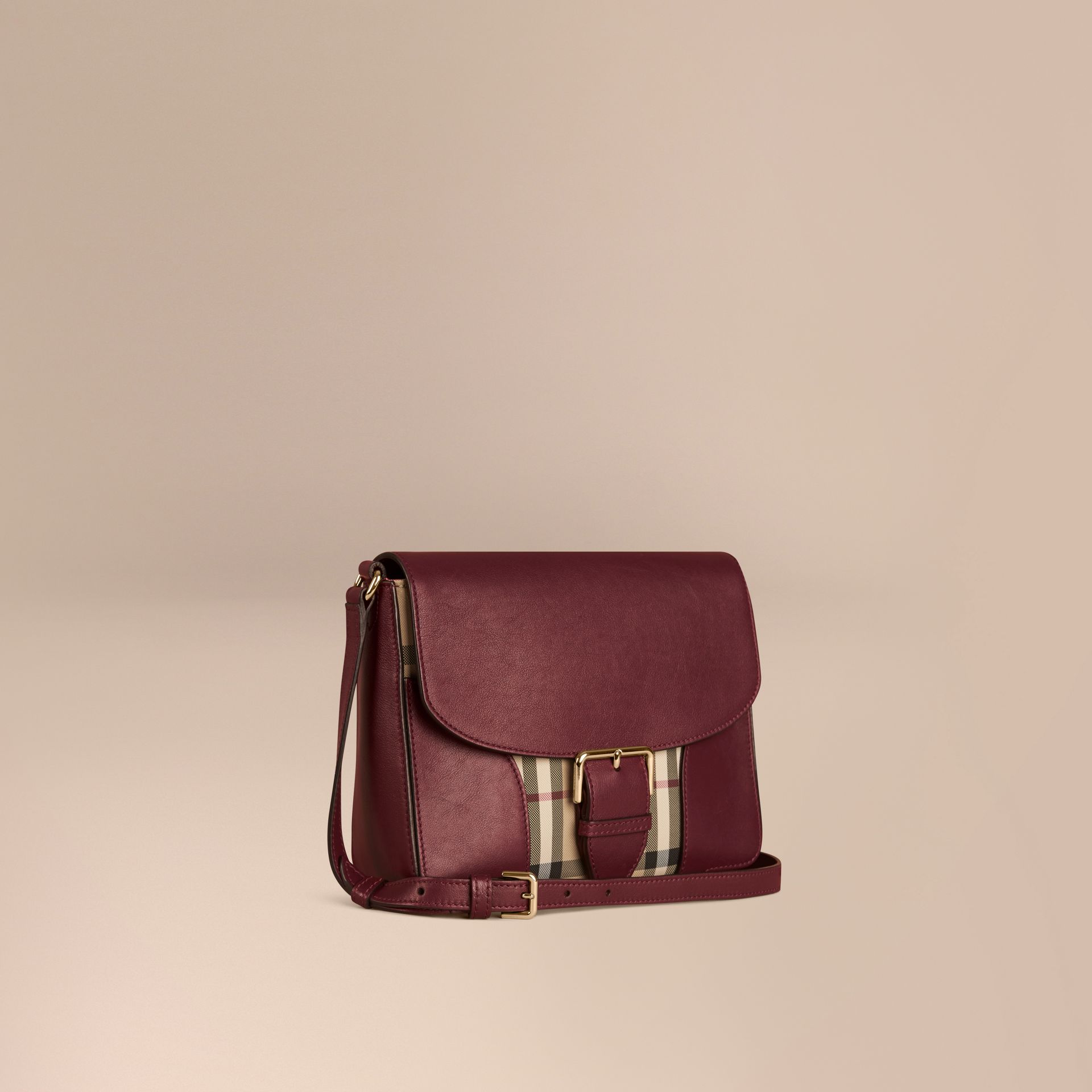 Honey/deep claret Small Horseferry Check and Leather Crossbody Bag Honey/deep Claret - gallery image 1