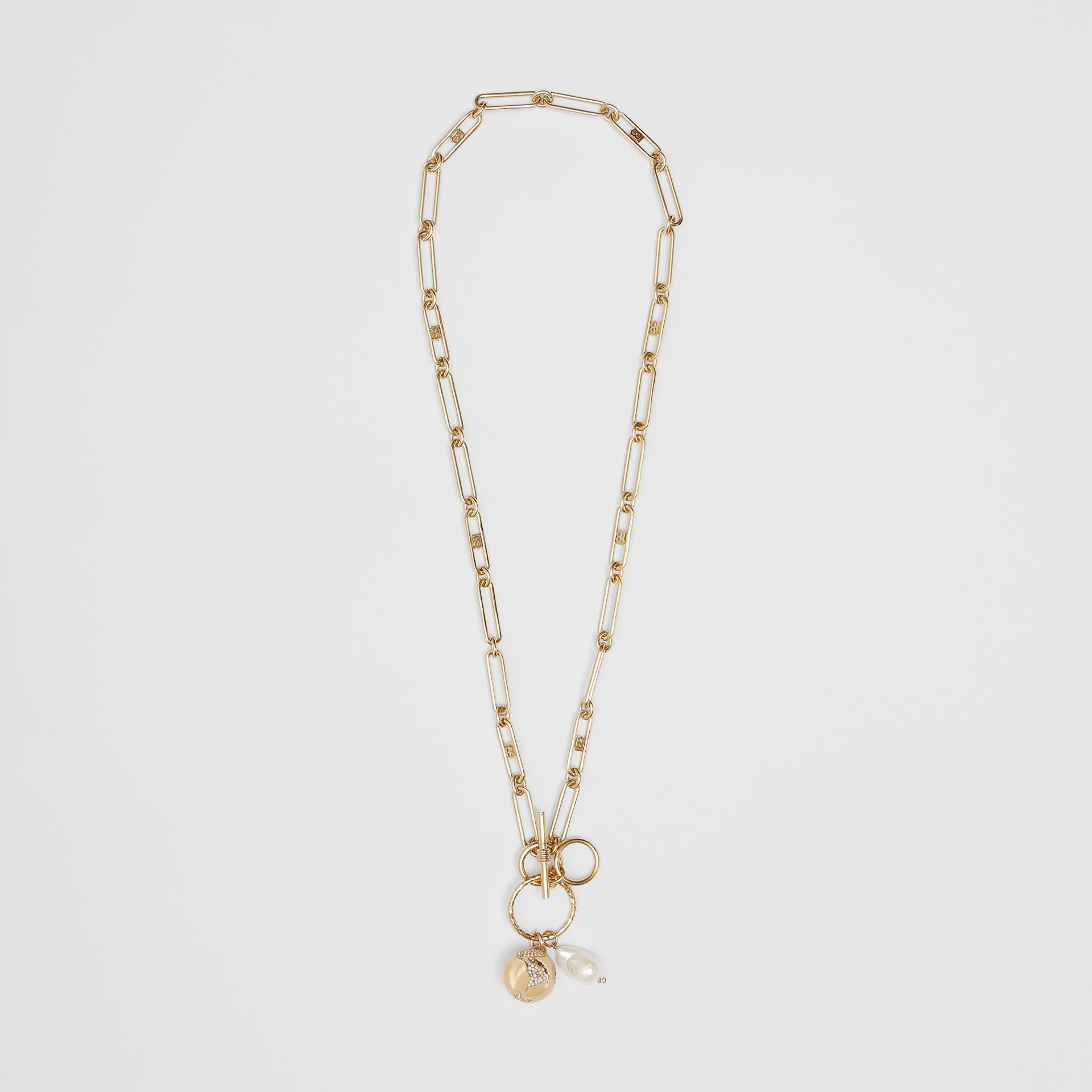Faux Pearl Charm Gold-plated Chain Necklace in Light - Women | Burberry - gallery image 0