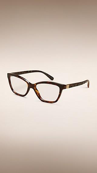 Monture œil de chat pour lunettes de vue à motif check