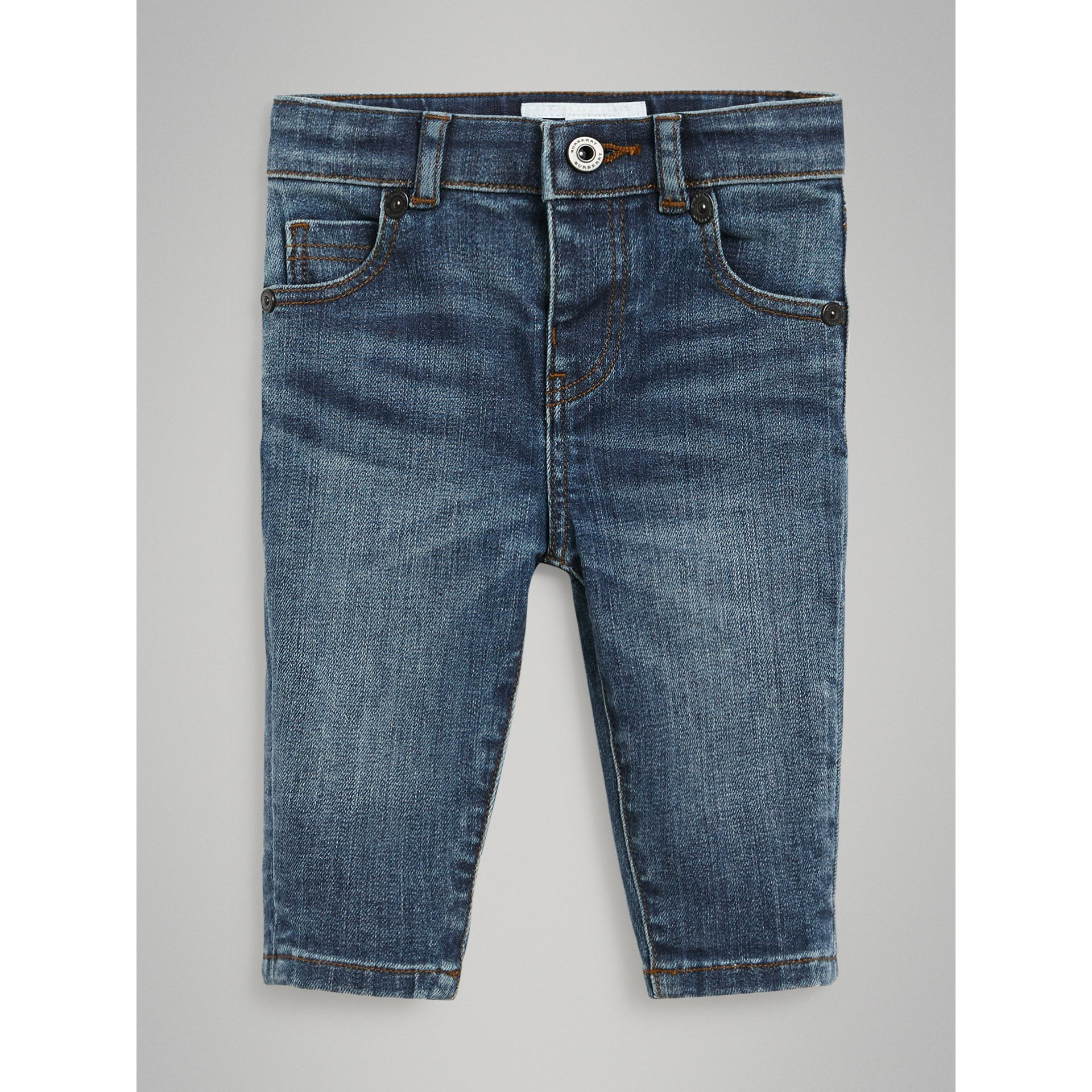 Skinny Fit Stretch Denim Jeans in Mid Indigo - Children | Burberry United Kingdom - gallery image 0