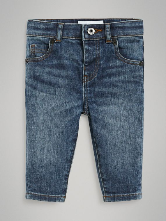 Skinny Fit Stretch Denim Jeans in Mid Indigo