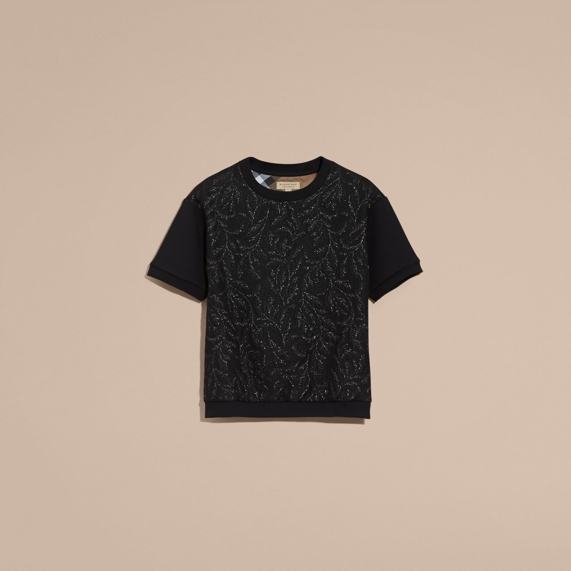 Black Short-sleeved Jacquard-front Cotton Blend Sweatshirt - gallery image 4