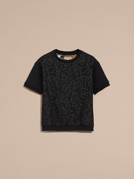 Black Short-sleeved Jacquard-front Cotton Blend Sweatshirt - cell image 3