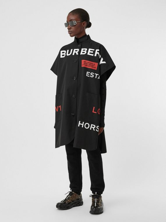 Reversible Horseferry Print Cotton Gabardine Poncho in Black