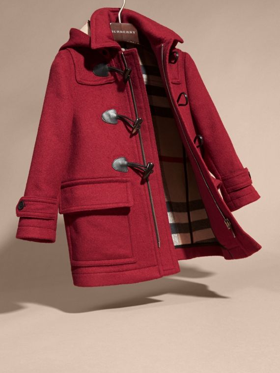 Rose bordeaux Duffle-coat en laine à capuche doublée du motif check Rose Bordeaux - cell image 2