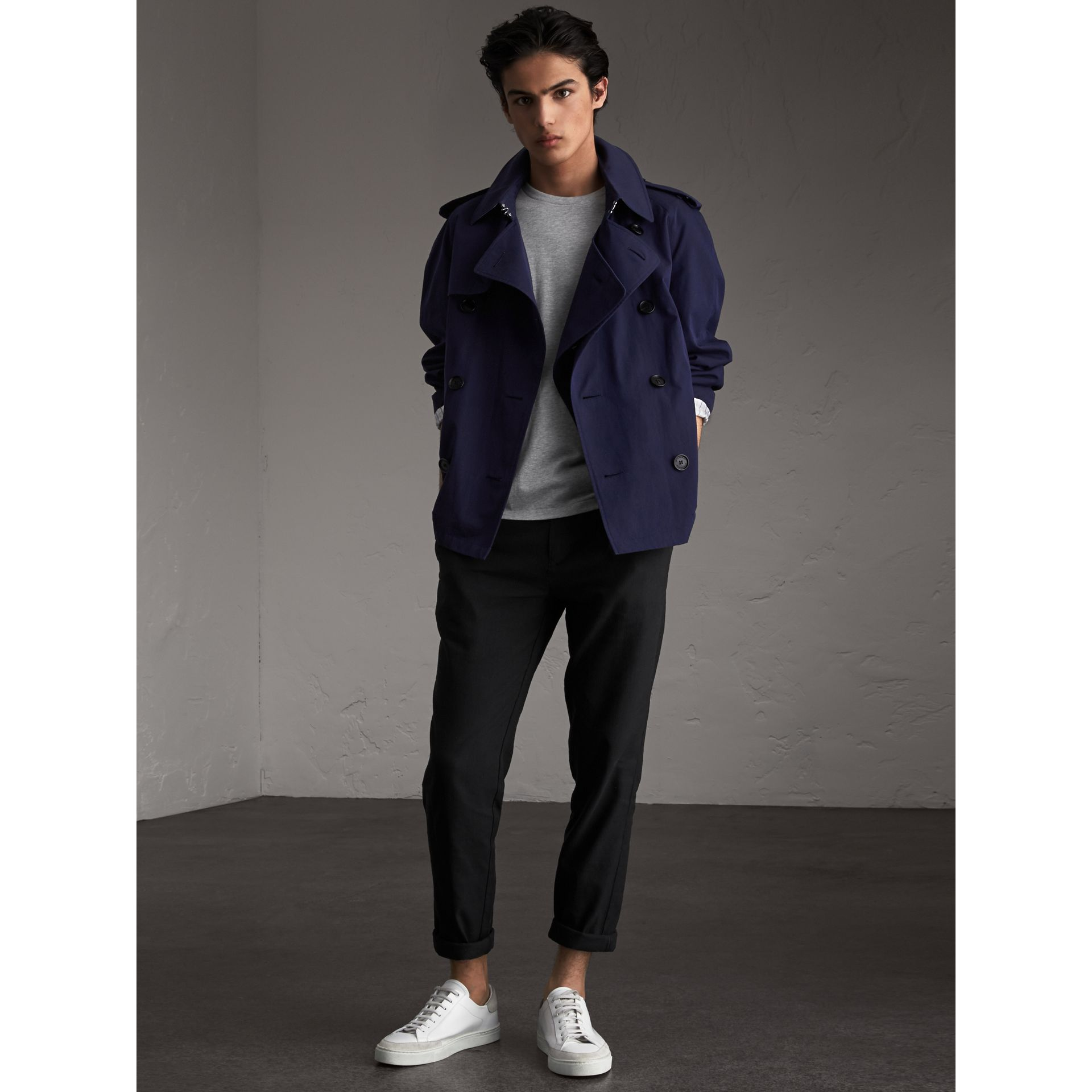 Unisex Tropical Gabardine Trench Jacket in Blueberry - Men | Burberry - gallery image 0