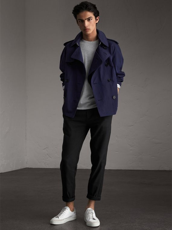 Unisex Tropical Gabardine Trench Jacket in Blueberry - Men | Burberry