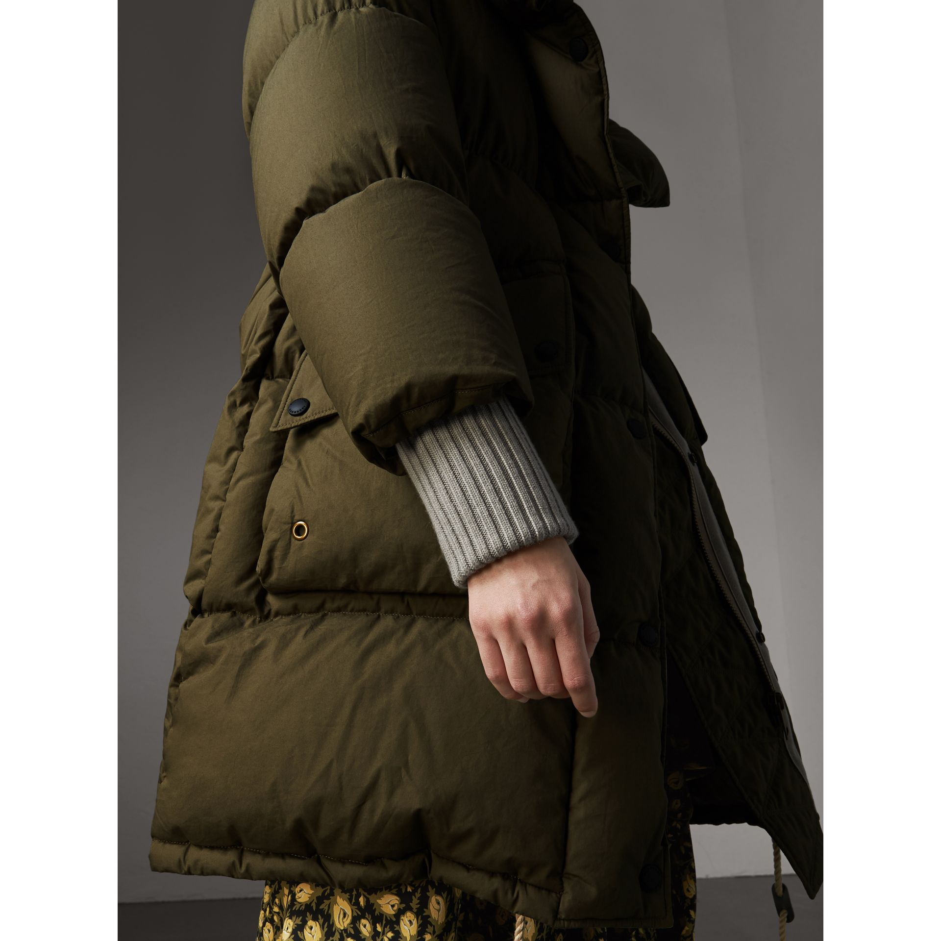 Detachable Fur Trim and Shearling Hood Puffer Coat in Olive Green - Women | Burberry - gallery image 4