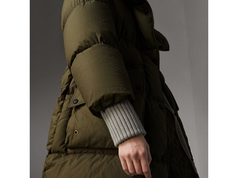 Detachable Fur Trim and Shearling Hood Puffer Coat in Olive Green - Women | Burberry - cell image 4