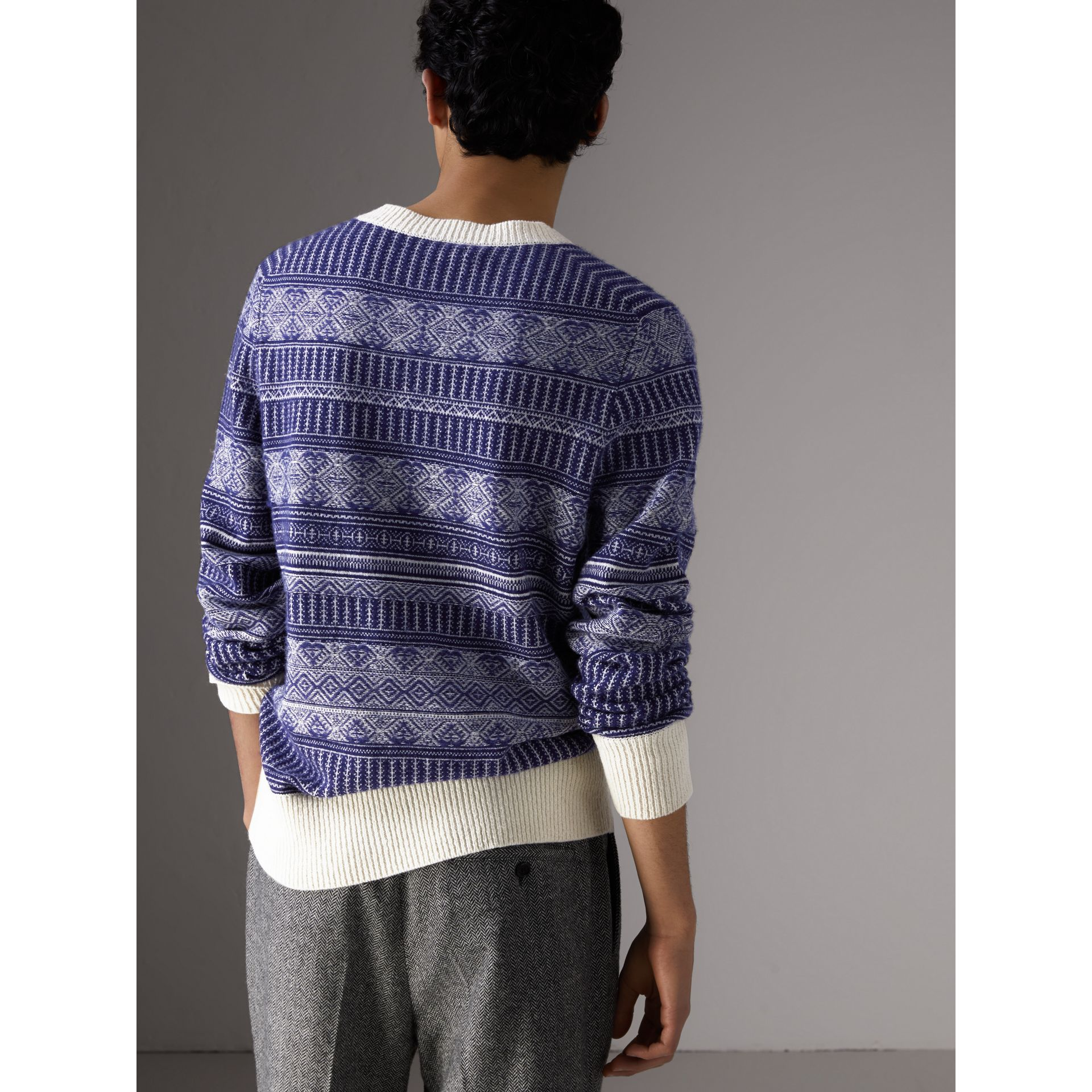 Fair Isle Wool Cashmere Sweater in Bright Navy - Men | Burberry - gallery image 2