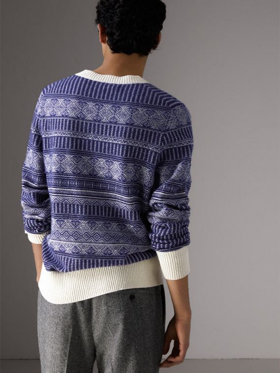 Fair Isle Wool Cashmere Sweater in Bright Navy - Men | Burberry Australia - cell image 2