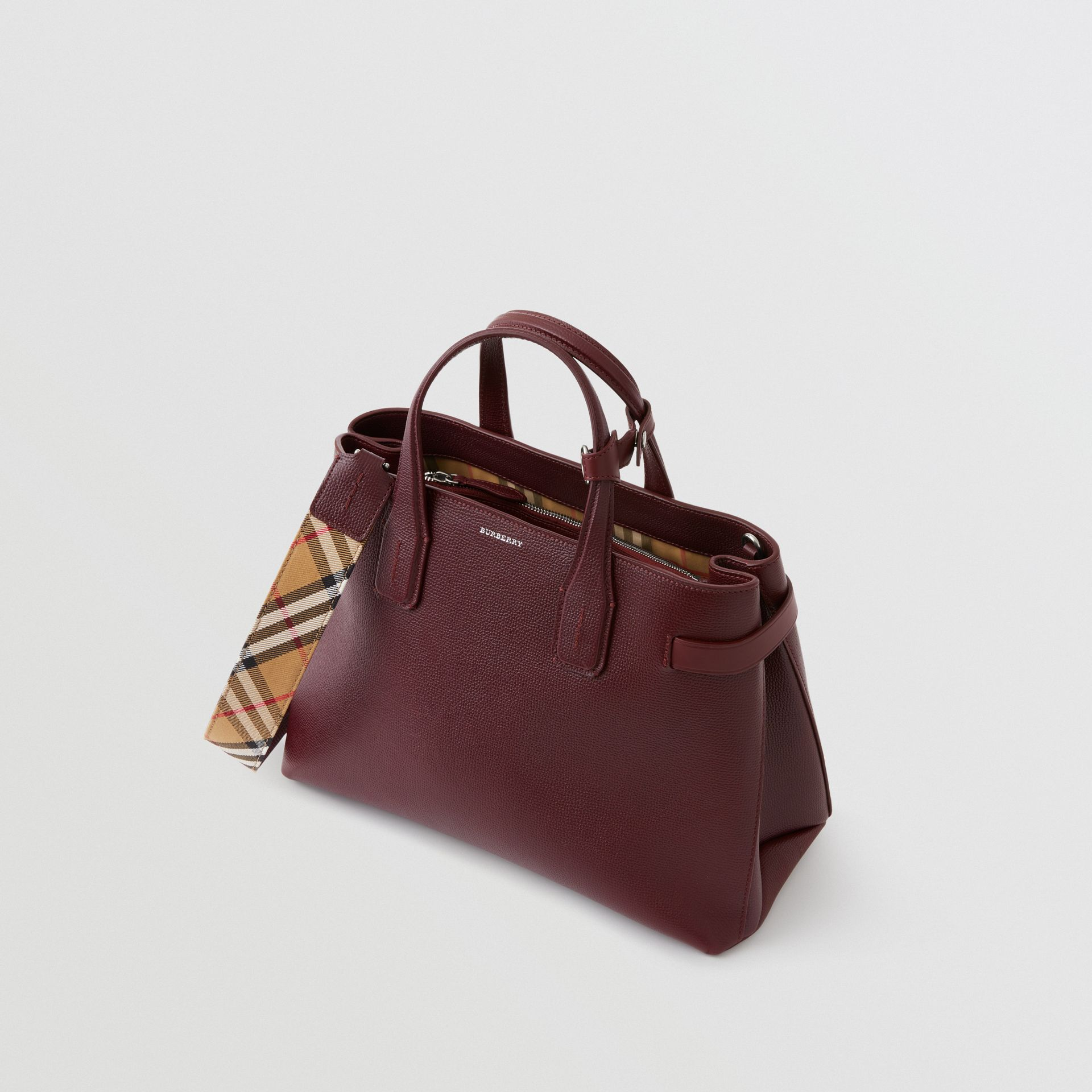 The Medium Banner in Leather and Vintage Check in Mahogany Red - Women | Burberry Australia - gallery image 4