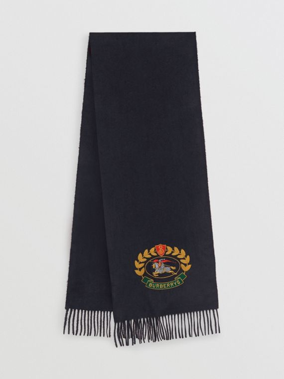 The Classic Cashmere Scarf with Archive Logo in Navy