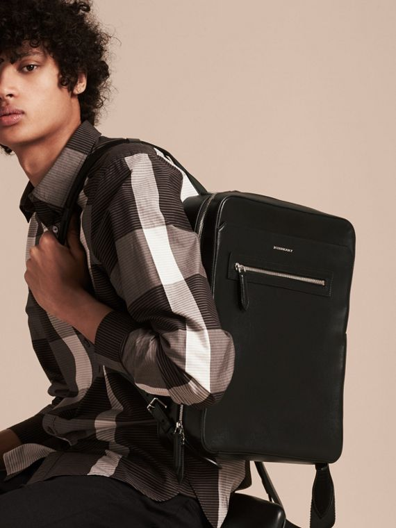 Black London Leather Backpack Black - cell image 2