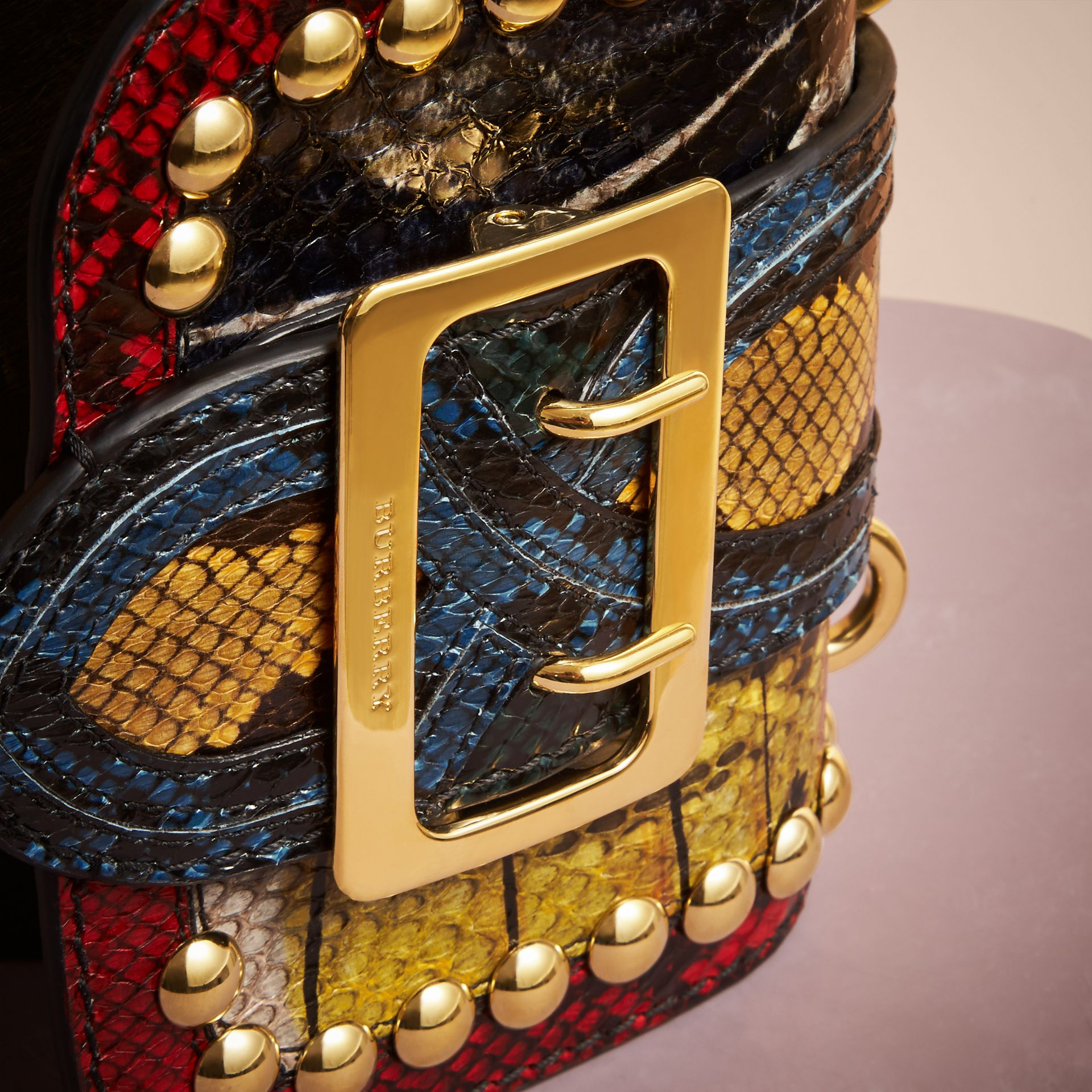The Mini Square Buckle Bag in Calfskin and Riveted Snakeskin - gallery image 2