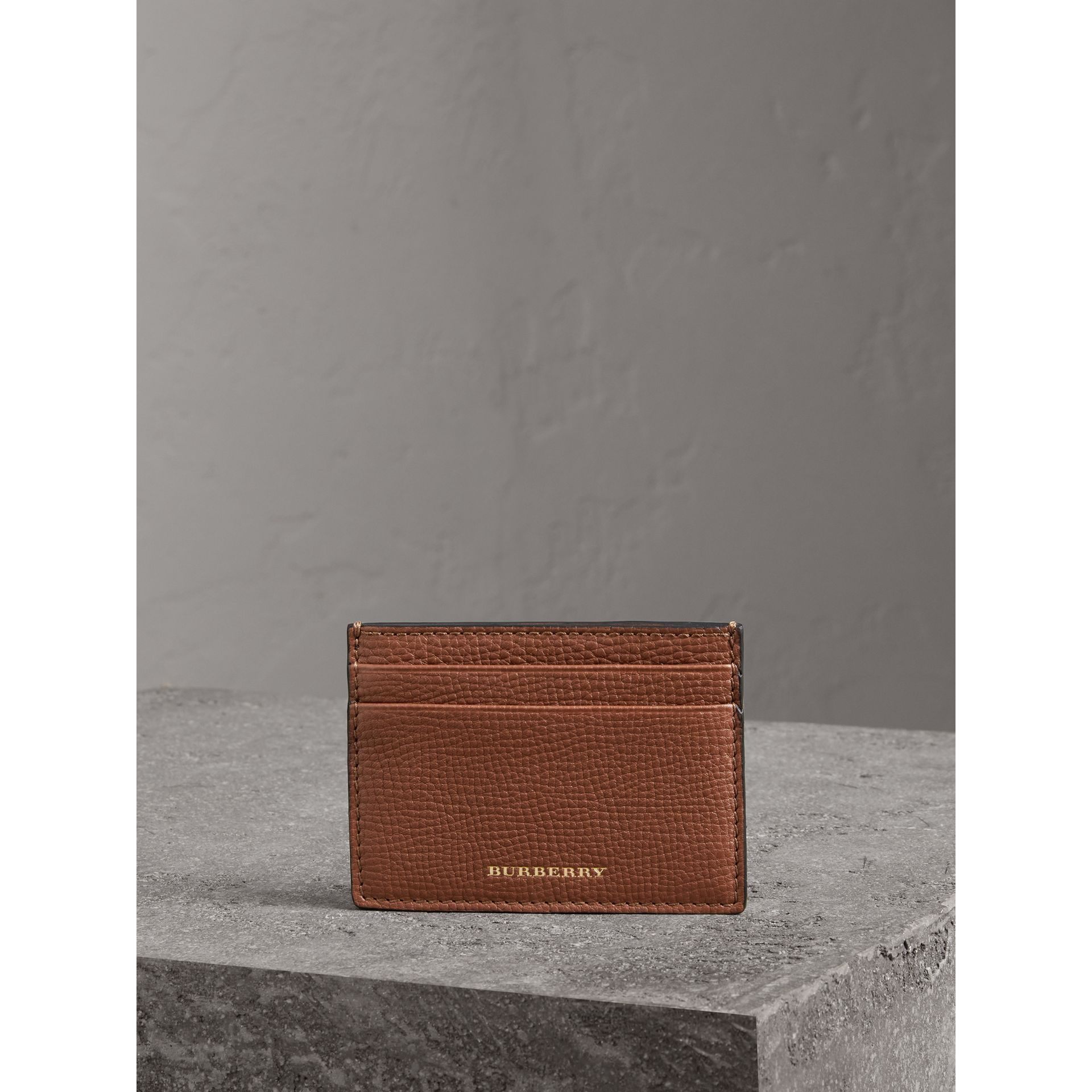 House Check and Grainy Leather Card Case in Chestnut Brown - Men | Burberry Australia - gallery image 4
