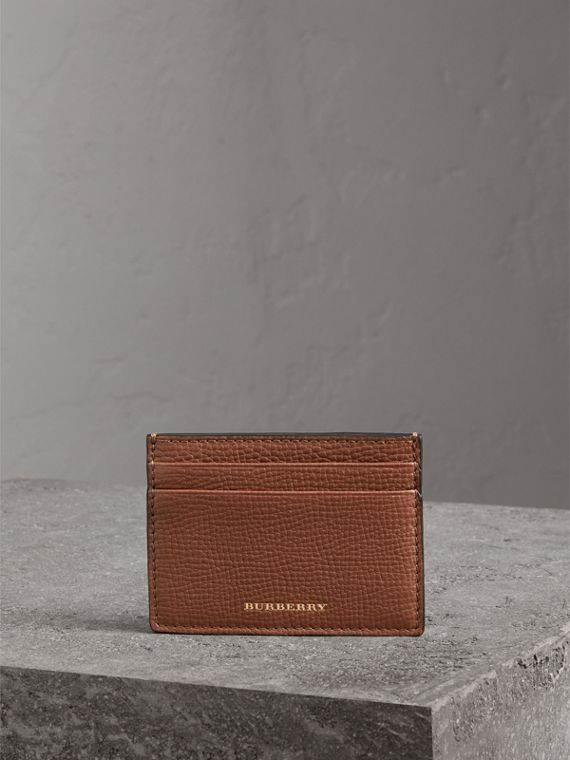 House Check and Grainy Leather Card Case in Chestnut Brown | Burberry - cell image 3
