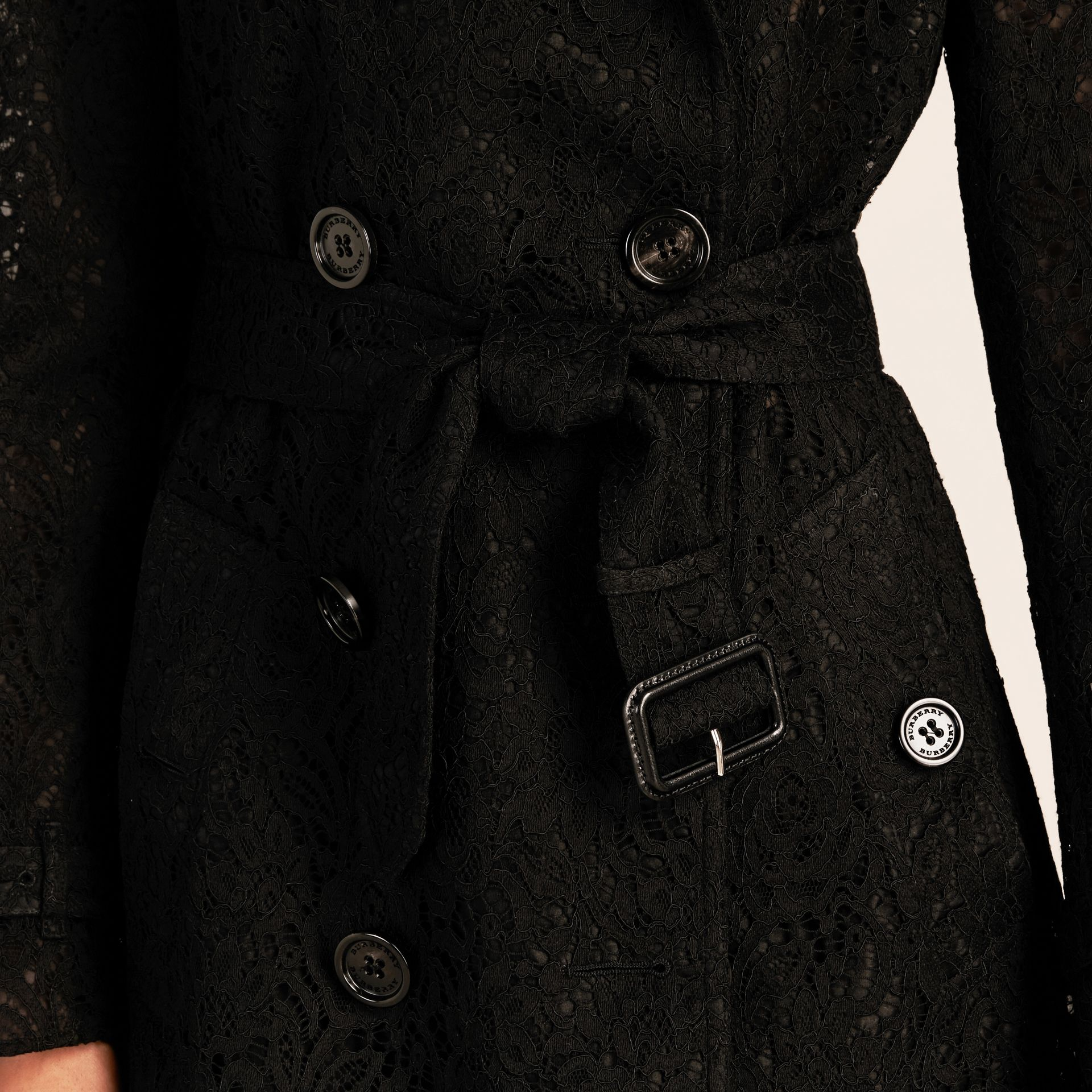 Black Italian Lace Trench Coat - gallery image 6