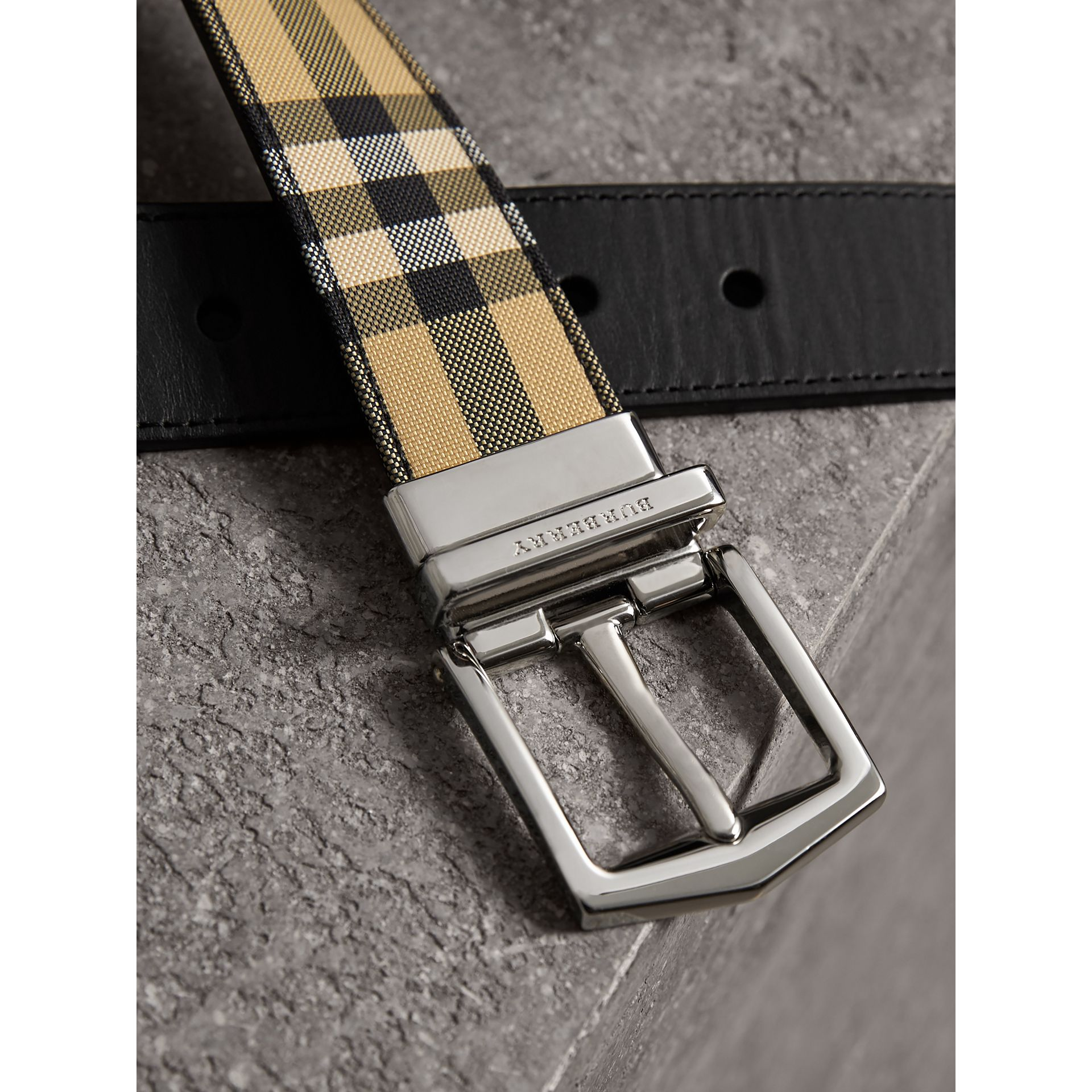 Reversible Horseferry Check and Leather Belt in Black - Men | Burberry - gallery image 1