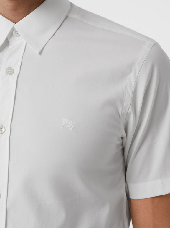 Short-sleeve Stretch Cotton Shirt in White - Men | Burberry United Kingdom - cell image 1