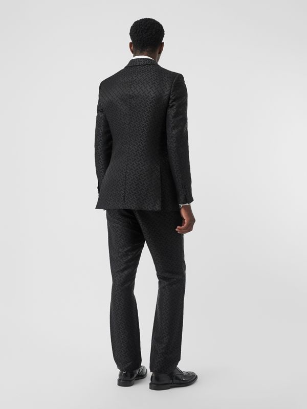 English Fit Monogram Wool Blend Jacquard Tuxedo in Black - Men | Burberry - cell image 2