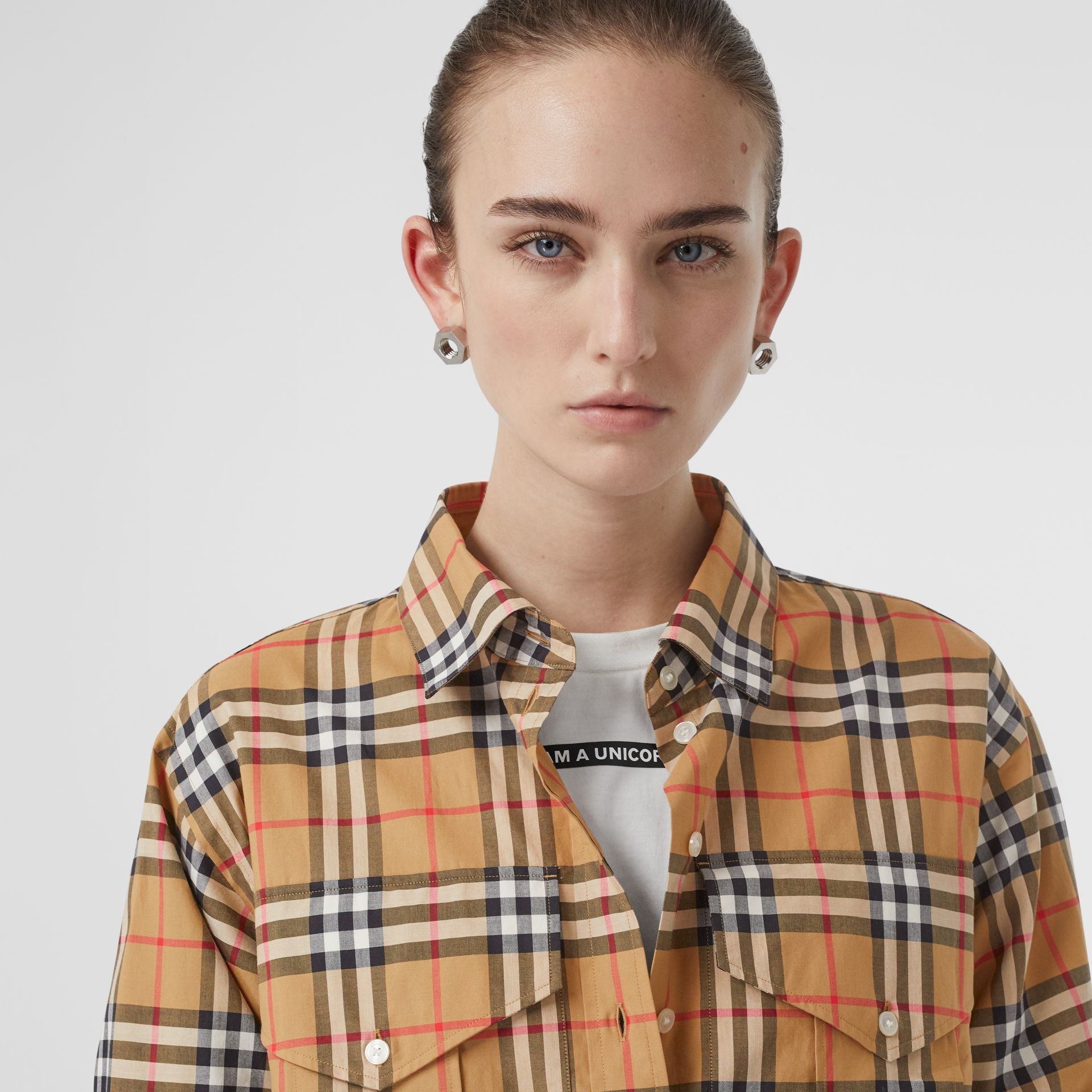 Vintage Check Cotton Oversized Shirt in Antique Yellow - Women | Burberry - gallery image 1