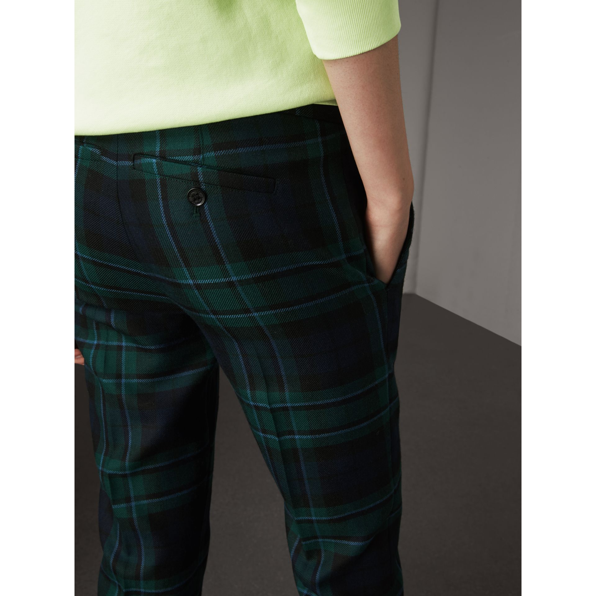 Tartan Wool Tailored Trousers in Pine Green - Women | Burberry United Kingdom - gallery image 2