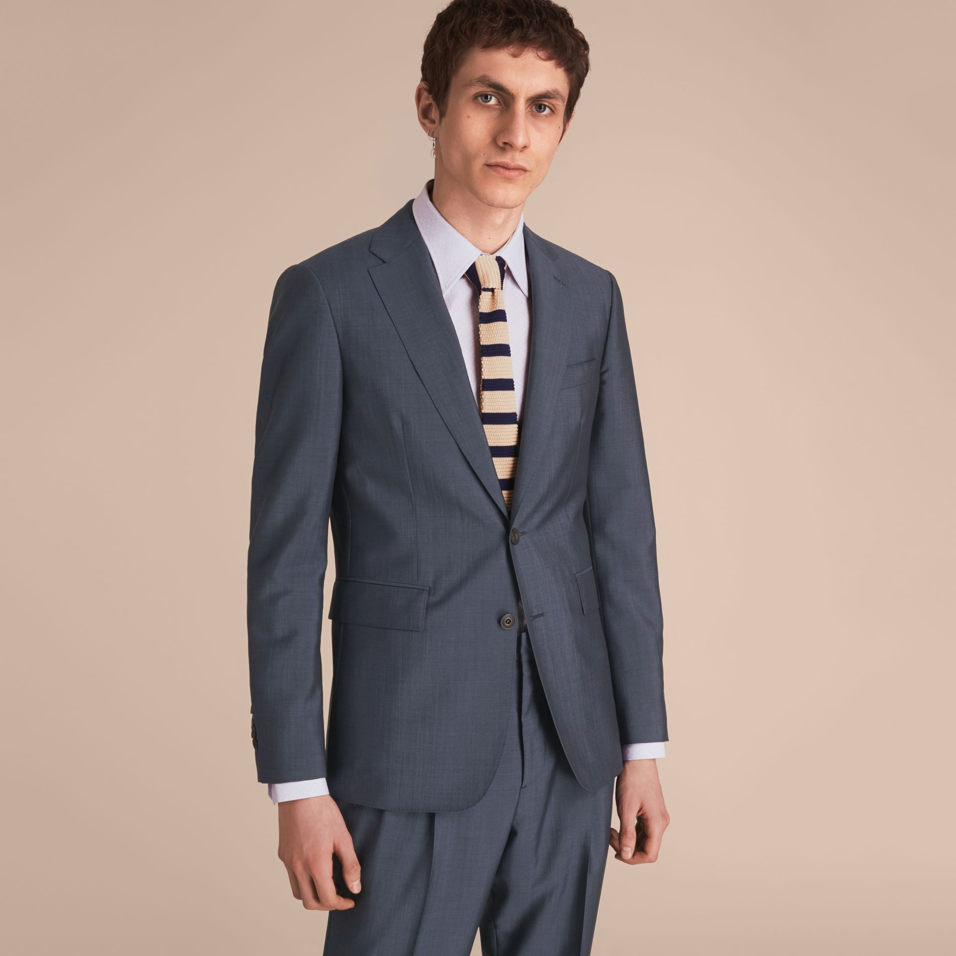 Slim Cut Two-tone Knitted Silk Tie in Limestone - Men | Burberry Singapore - gallery image 3