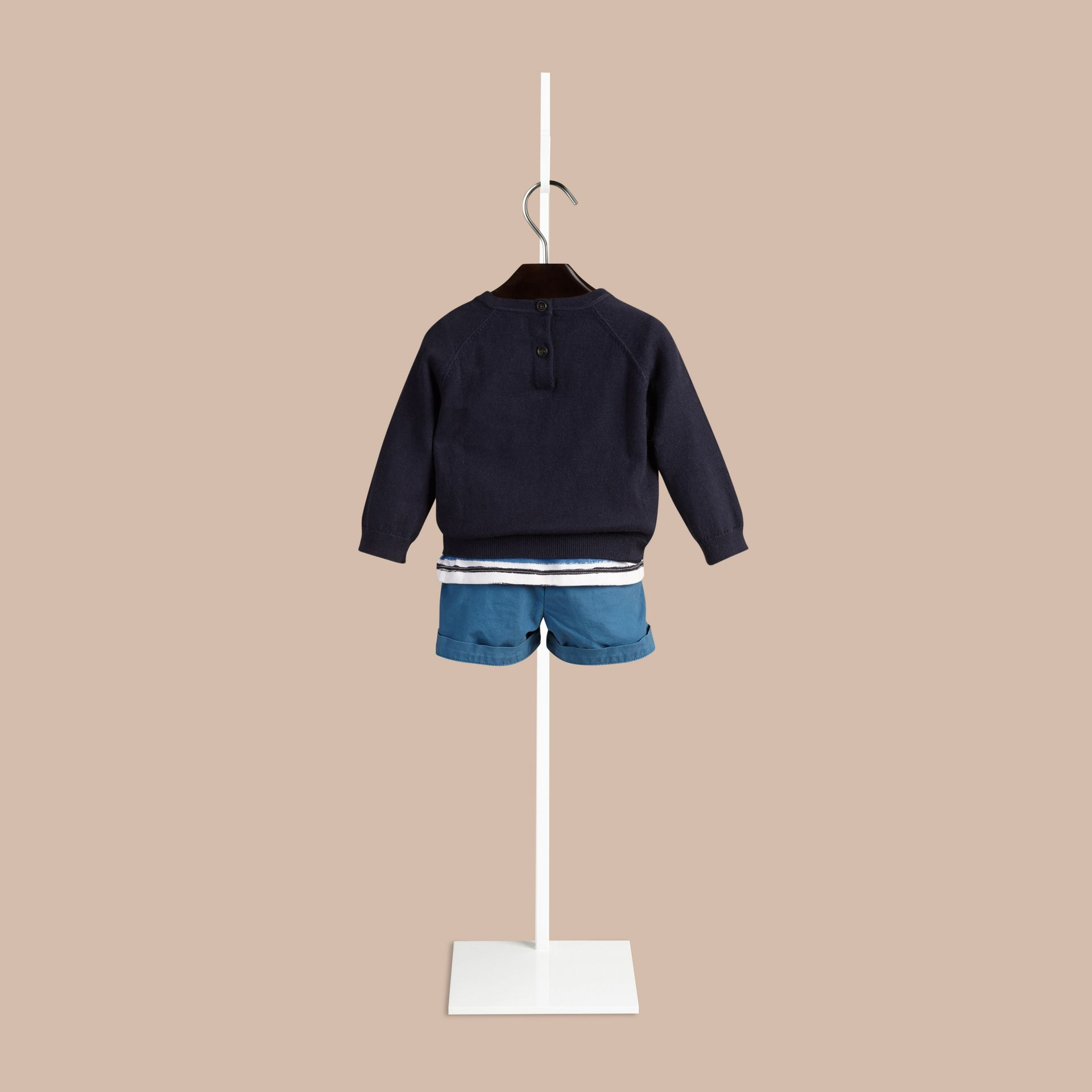 Navy Crew Neck Cotton Sweater - gallery image 2