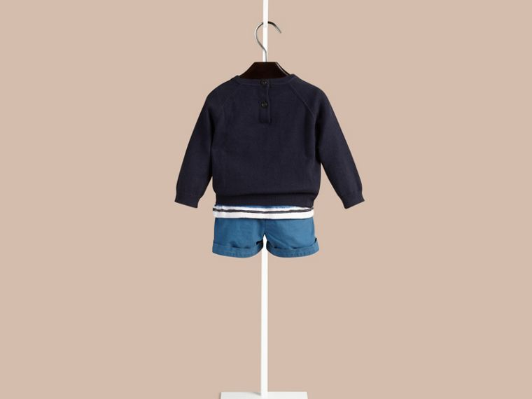 Navy Crew Neck Cotton Sweater - cell image 1