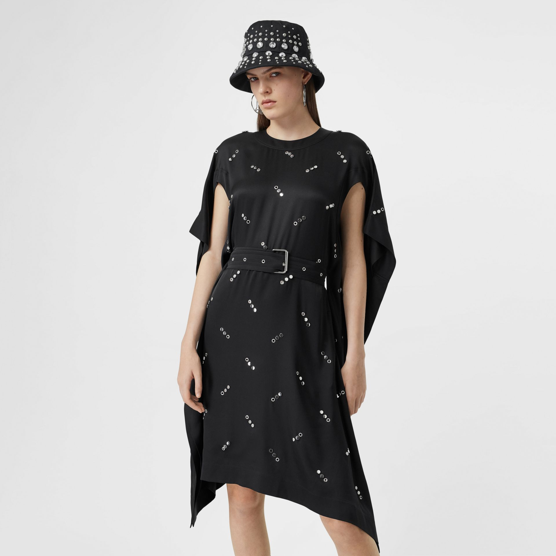 Cut-out Sleeve Embellished Silk Satin Dress in Black - Women | Burberry United States - gallery image 5