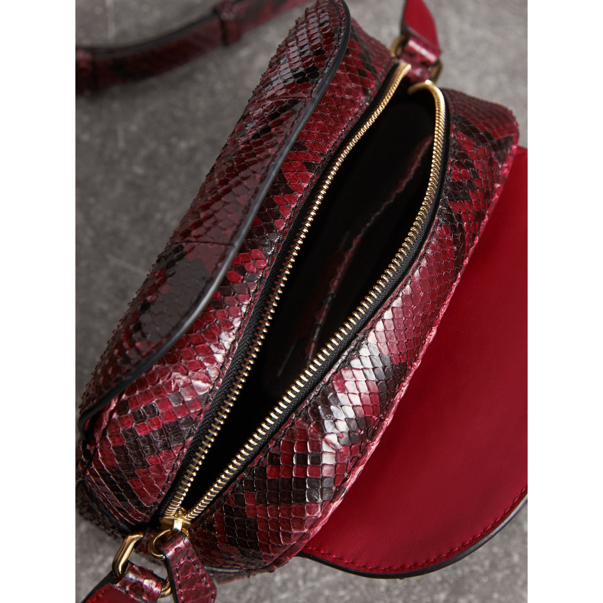The Small Buckle Crossbody Bag in Python in Burgundy Red - Women | Burberry - gallery image 4