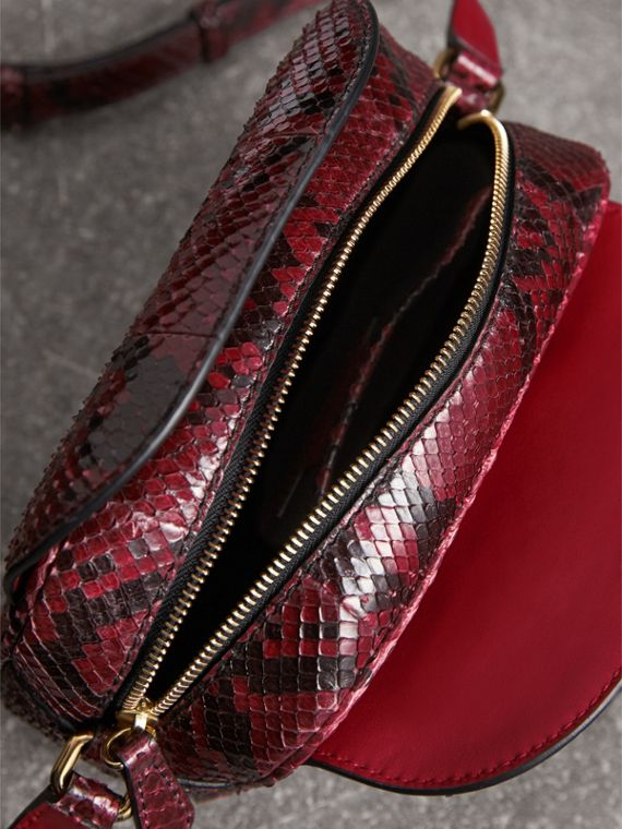 The Small Buckle Crossbody Bag in Python in Burgundy Red - Women | Burberry - cell image 3