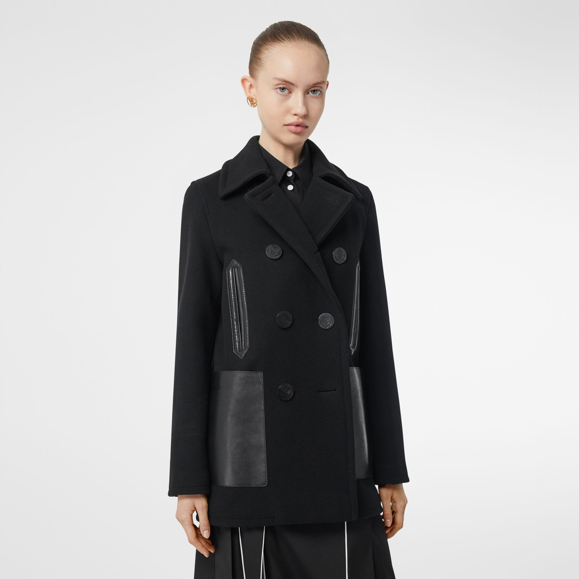 Lambskin Pocket Wool Blend Pea Coat in Black - Women | Burberry - gallery image 0