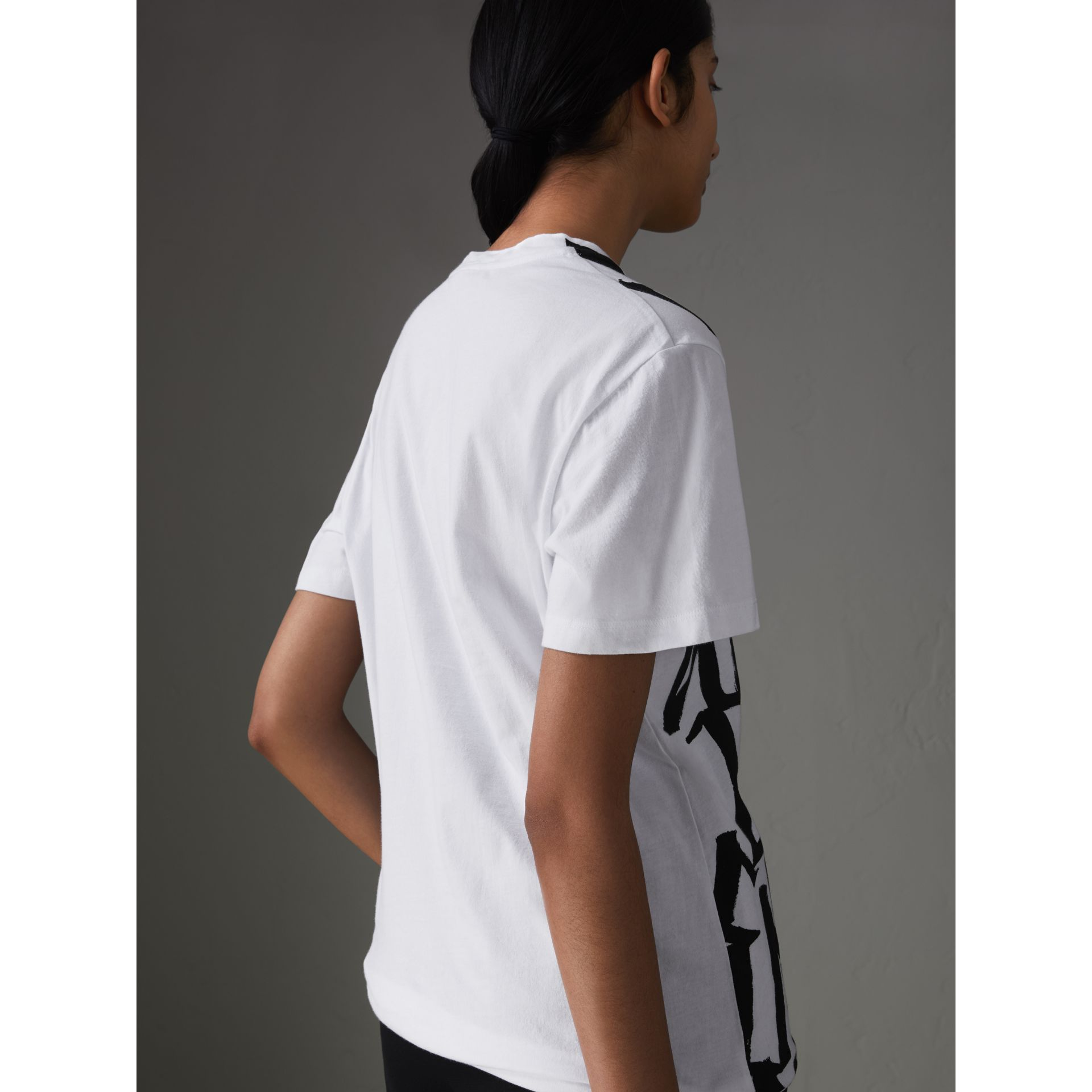 Graffiti Print T-shirt in White - Women | Burberry Singapore - gallery image 2