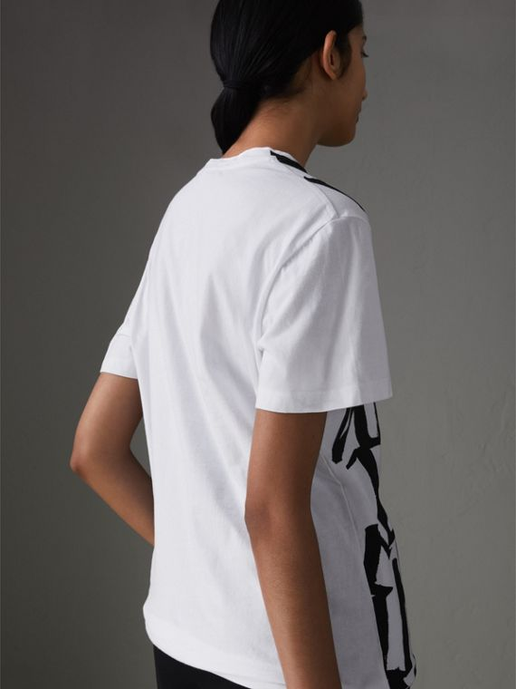 Graffiti Print T-shirt in White - Women | Burberry Singapore - cell image 2