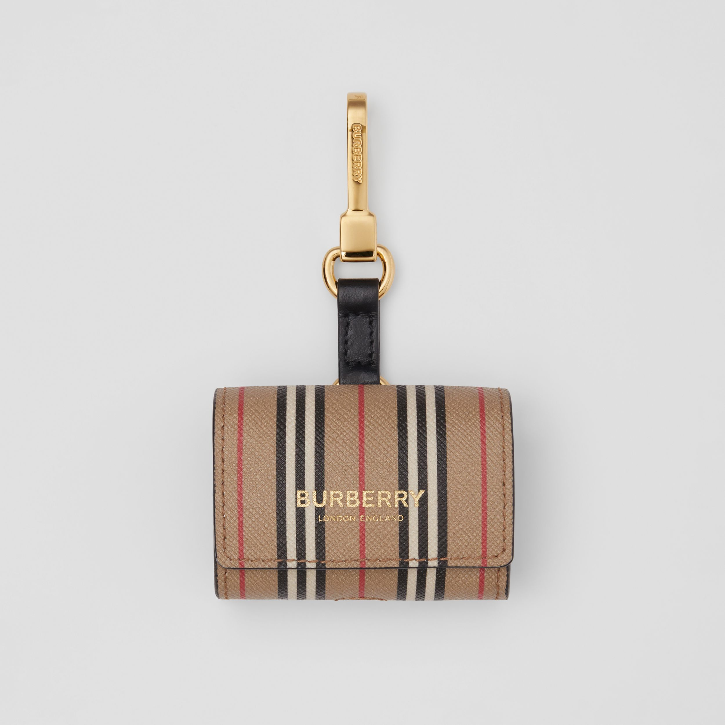 Custodia per AirPod Pro in e-canvas con iconico motivo a righe (Beige Archivio) | Burberry - 1