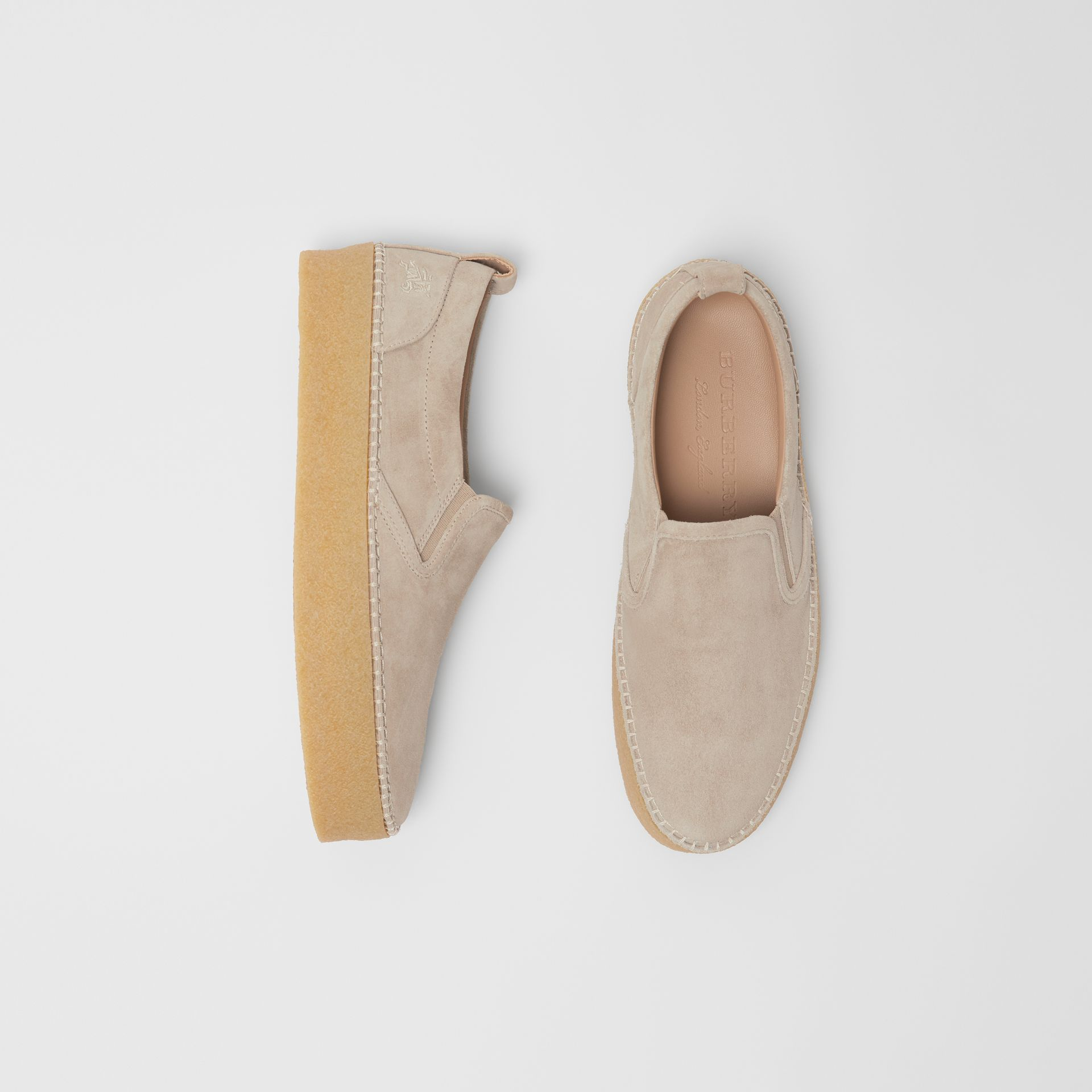Suede Slip-on Sneakers in Sandy Beige - Men | Burberry - gallery image 0