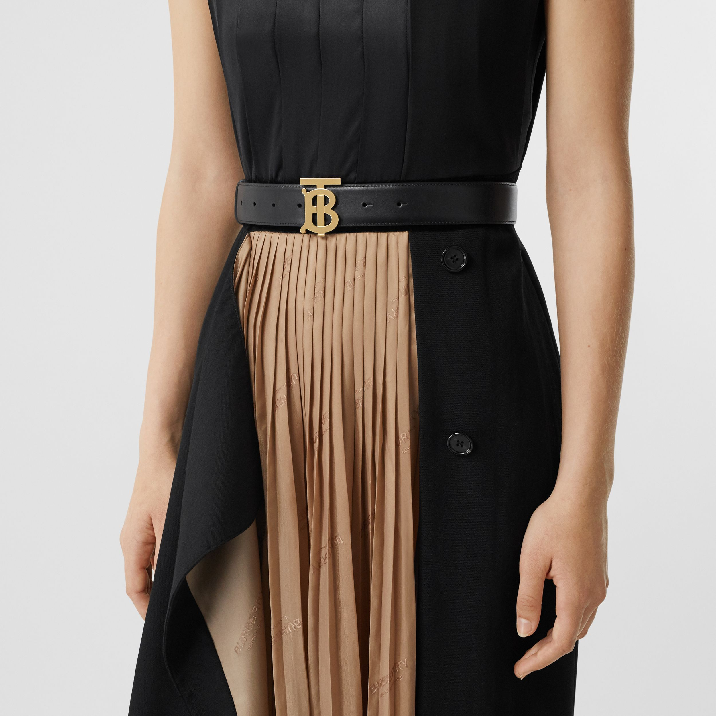 Monogram Motif Leather Belt in Black - Women | Burberry Singapore - 3