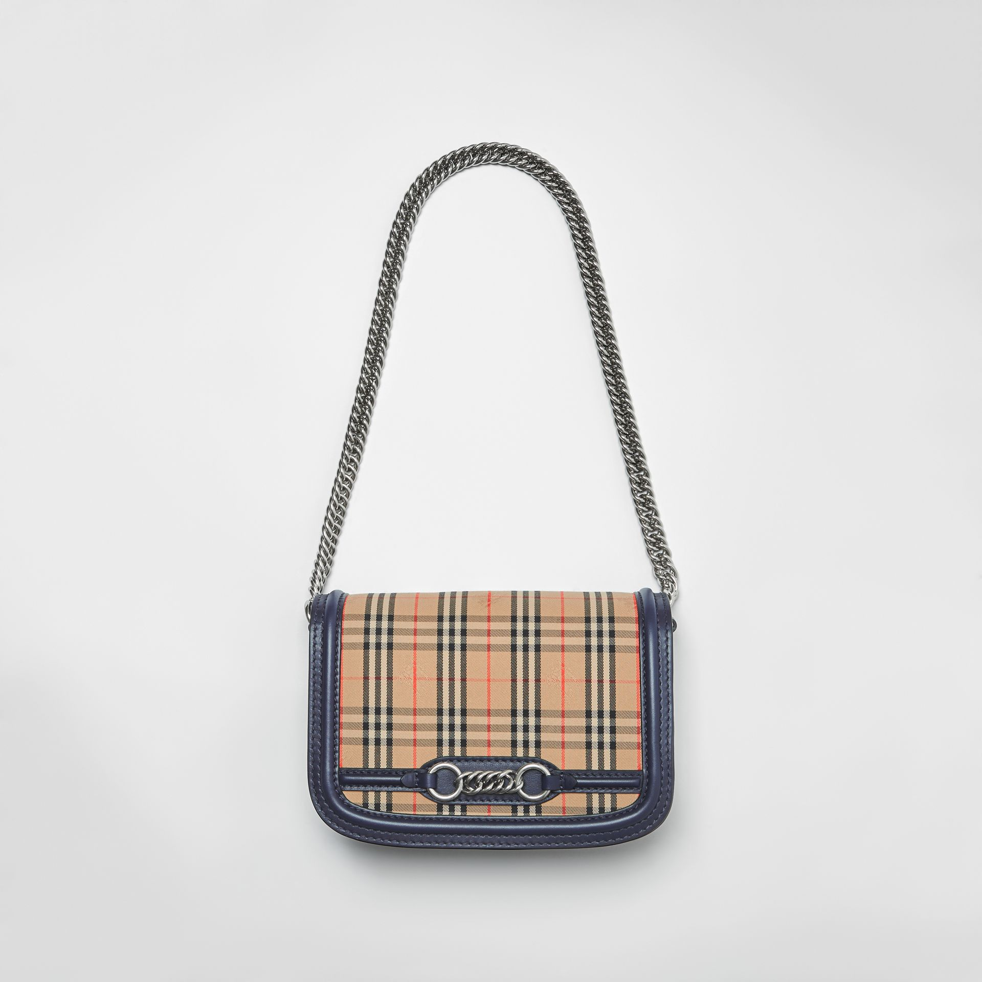 The 1983 Check Link Bag with Leather Trim in Ink Blue - Women | Burberry - gallery image 1