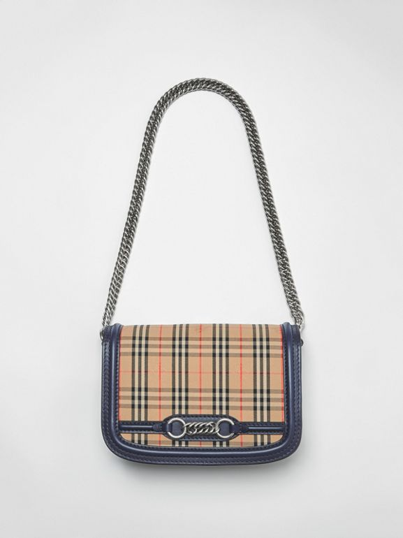 The 1983 Check Link Bag with Leather Trim in Ink Blue - Women | Burberry - cell image 1