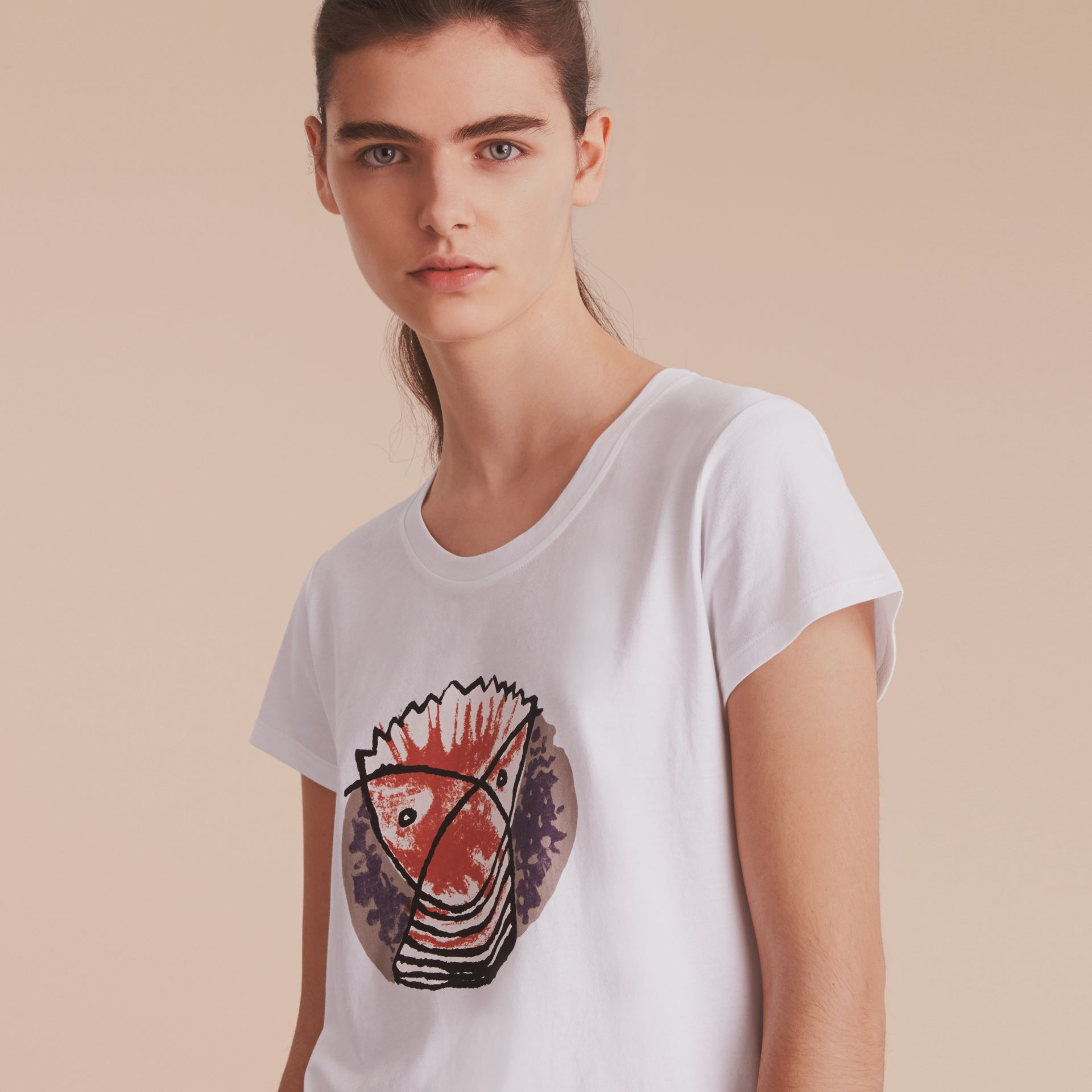 Pallas Heads Print Cotton T-shirt in White - Women | Burberry - gallery image 5