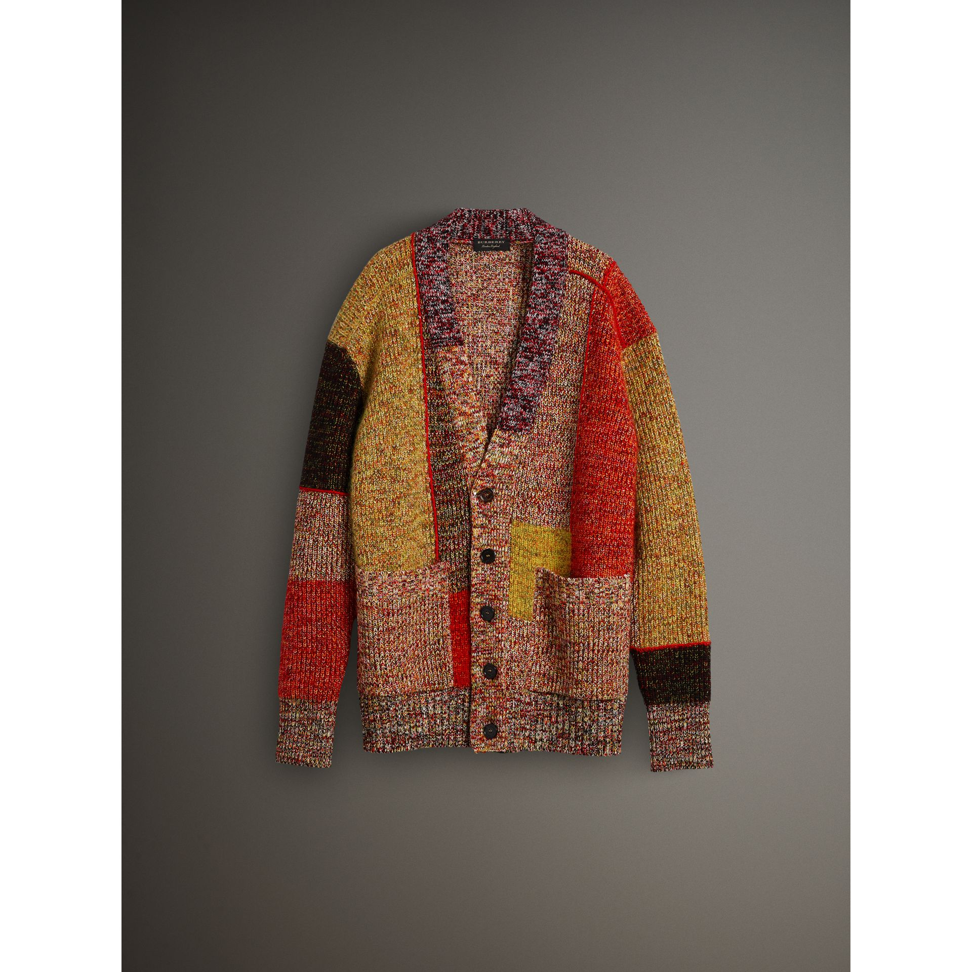 Wool Linen Mohair Blend Mouliné Oversized Cardigan in Multicolour - Men | Burberry United Kingdom - gallery image 3
